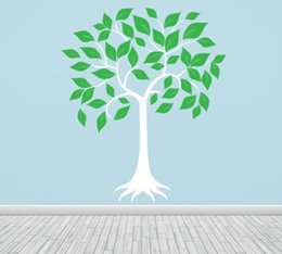 Wholesale Large Green Tree Wall Stickers - DIY Large Tree Vinyl Wall Stickers For Kids Room Girl Boys Nursery Wall Decals White Green Wall Art Tree Baby Decals Mural D809