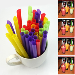 Wholesale Drinking Straws For Party - Wholesale-100Pcs Multi-color Plastic Jumbo Large Drinking Straws For Cola Drink Smoothie Milk Juice Birthday Wedding Decor Party Supplies