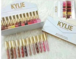 Wholesale Dhl Wallet - kylie Matte Liquid Lipstick Kylie Jenner Lip Gloss 12 color Wallet Edition Kylie cosmetics DHL Shipping