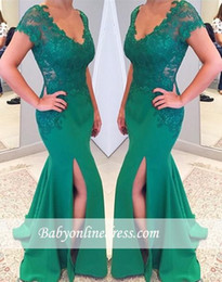 Wholesale Hunter Green Satin Women Robes - 2017 robe de soiree Charming Green Mermaid Evening Dresses With Short Sleeve Lace Appliques Side Split Ruch Prom Dresses Long Women Formal