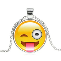 Wholesale Funny Necklaces - Wholesale-18 Styles Emoji Smiley Face Pendant Necklace Glass Cabochon Silver Chain Necklaces for Women Jewelry Birthday Party Funny Gift