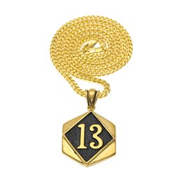 Wholesale Lucky 13 Pendant - Vintage Hiphop Figure LUCKY 13 Pendant Tag Dog Zinc Alloy Gold Color Black Enamel Pendants Necklace Cuban Chain Fashion Hiphop Punk Jewelry