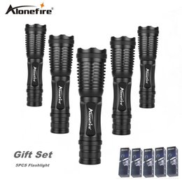 Wholesale Portable Torch Set - AloneFire E007 High Power XML T6 Zoomable Flashlight 18650 Rechargeable Battery Tactical Led Torch gift set 5pcs