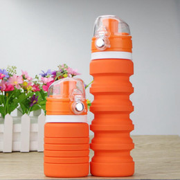 Wholesale Travel Folding Cup Stainless Steel - Silicone Folding Water Bottle 500ML Foldable Outdoor Travel Retractable Collapsible Cups Outdoors Sport Cycling Drinkware 100pcs OOA2077