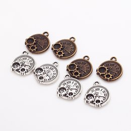 Wholesale Trendy Clocks - Wholesale- Vintage Fine Trendy Small Steampunk Clock Gears Charms Antique Metal Zinc Alloy Clock Pendant for Jewelry 30pcs lot 13*16mm 8360