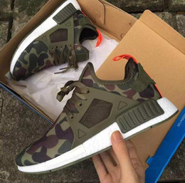 Wholesale Camouflage Tops Women - 2017 Top Quality Army Green Camo NMD XR1 Duck Green Camouflage Men Running Shoes Women sports Shoe Athletic Sneakers Eur 36-44 US 5-10