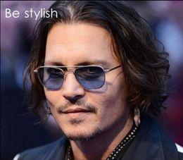 Wholesale Johnny Depp Lens - Retro Vintage Aviator Sunglasses Frame Johnny Depp Metal Frames Blue Glass Lens Mens 100%UV400 Sun glasses