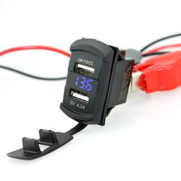 12 volt wechselrichter Rabatt Großhandels-Neuer in1 Rocker-Art mit blauer roter LED Digitalanzeige Voltmeter 4.2A Doppeltes USB-Schwarzes Auto USB-Ladegerät mit Voltmeter