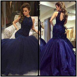 Wholesale Organza Dress Ruffle Designer - Formal Sleeveless Long Mermaid Prom Dress Elegant Beads Crystal Party Prom Gowns vestido de festa New Designer For Evening