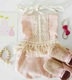 Wholesale Pink Lotus Clothing Wholesale - NWT INS 2017 summer baby girl lace Tassels romper onesies Newborn Infant sweet Clothes Tassels Strap Lotus Romper Bodysuit Jumpsuits Pink