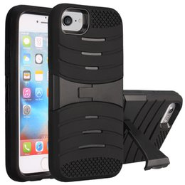 Wholesale Hybrid Hard - For Iphone 7 Plus Armor Case Hybrid 2 in 1 Kickstand Case Rugger Silicone PC Hard Cover Case For Iphone 6 6S Plus LG LS775 K10 OPP Bag