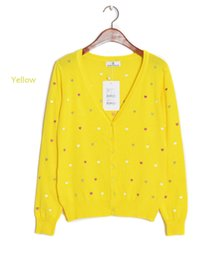 Wholesale Long Cardigan Heart - Wholesale- 2015 Autumn Hot Sale Women Sweater Embroidery Heart Women Cardigan Full Sleeve Single Casual Sweater Air conditioning Vestidos