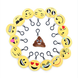 Wholesale Mobile Phone Keyrings - 2.3 Inch Mini Emoji Novelty Keyrings Plush Toy For Mobile Phone Bag Pendant Party Decorations Gift Set Of 16Pcs Assorted Styles