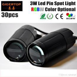 Wholesale pin angle - Freeshipping 30XLOT TIPTOP LED Pinspot 3W Light System RGBW Color Led Powered Pin Spot Metal Housing 12-degree Beam Angle No Noise 90V-240V