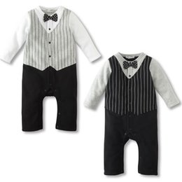Wholesale Boys Christmas Bow Tie - New Born Romper Clothes For Baby Boy Bow Tie Jumpsuit Spring Autumn Infant Newborn Dot Cotton Fleece Overall Costume Clothing