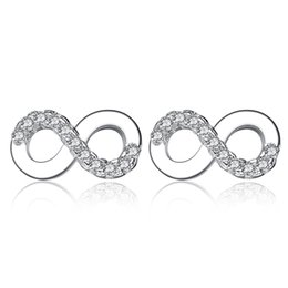 Wholesale Forever Days - BELAWANG Authentic 925 Sterling Silver Infinity Stud Earrings Forever Love 8 Shape Earrings For Women Jewelry Wedding Valentine's Day Gift