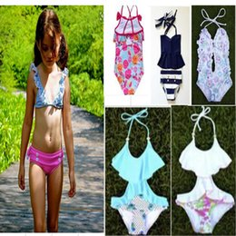 Wholesale Hot Children Bikini - 7 Style Girls Swim One-Pieces Children Fashion Girl Hot Spring Bikini Flower Bowknot HOT Hot Spring Girl's Swimming Set Clothing A6559