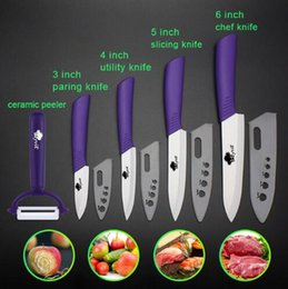"Wholesale Hiking Cooking - Ceramic Knives Multi-color Handle Kitchen knife 3"" 4"" 5"" 6"" kitchen knives cooking set+peeler white zirconia blade with sheath"