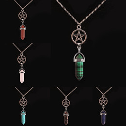 aventurine pendants Promo Codes - New Silver Plated Star Necklace Natural Stone Healing Crystals Necklaces Green Aventurine Rose Quartz Pendants Alloy Necklaces Gift