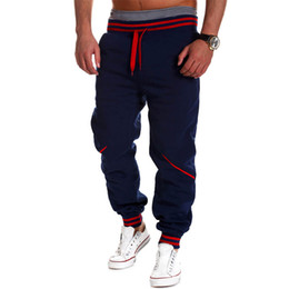 Wholesale Harem Dance - Wholesale-Casual Men Harem Baggy Hip Hop Slacks 2016 Fashion Men Long Pants Dance Sweat Pants Striped Sweatpants Cross-pants M-4XL A123