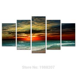 Paneles de paisaje marino online-5 paneles Sunet Seascape pintura mar lienzo pintura arte de la pared impresión de la imagen Giclee ilustraciones con marco de madera listo para colgar para la decoración del hogar