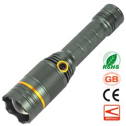 Wholesale Cree Red Hunting Lights - Blue Red White Light Source LED Flashlight CREE 5 Modes Outdoor Strong Light Life-saving Signals Flash light Rechargeable Battery torch NEW