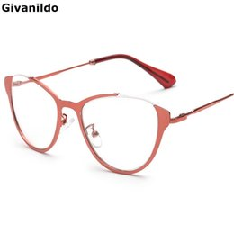 3d6b6aac88 Wholesale- Givanildo Metal Cat Eye Myopia Glasses Ornament Spectacles Frame  Eyeglasses Frames Women Plain Glass Eyewear G323
