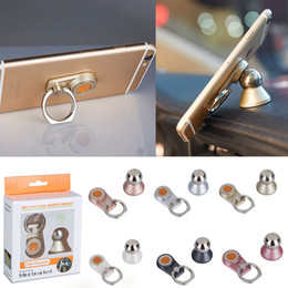 Wholesale Magnetic Balls - Universal dash board magnetic metal ball 360°rotate cell phone ring holder car mount for iphone 7 and Mini Tablets Creative promotion gift