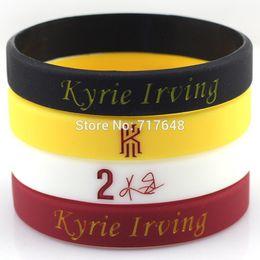 Wholesale Silicone Rubber Wristband Cuff Bracelet - Wholesale- 100pcs Kyrie Irving wristband silicone bracelets rubber cuff bangle free shipping
