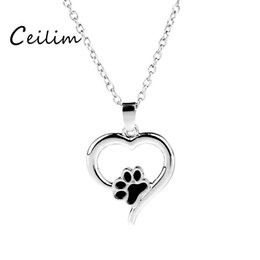 Wholesale Cat Memorial Jewelry - Pet Memorial Jewelry Always In My Heart Dog Cat Foot Pet Paw Print Heart Lover Pendant Necklace Animal Keepsake Charms Fashion Accessories