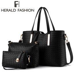 Wholesale Phone Set New - Wholesale- 3 Pcs Sets Knitting Shoulder Women Bag Ladies Handbags Crossbody Bags PU Leather Purse Herald Fashion New Arrivals