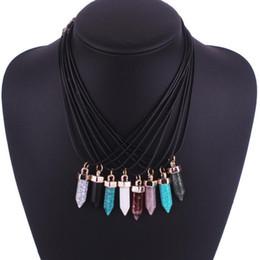 Wholesale Malachite Cross - 7Pcs Women Multicolor Natural Stone Pendants Turquoise Agate Malachite Rose Quartz Charms Pendant Necklaces Hot Selling