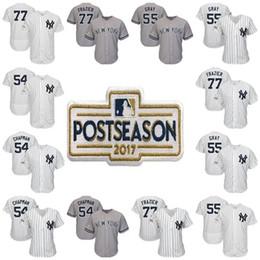 Wholesale Yankees Jersey Black - New York Yankees 2017 Postseason Patch 77 Clint Frazier 55 Sonny Gray 54 Aroldis Chapman Cool Flex Baseball Jerseys Mens Womens Kids