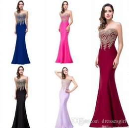 Wholesale Evening Dress Sexy Mermaid - 2017 Cheap Evening Dresses Jewel Sleeves Floor Length Lavender Pink Black Burgundy Prom Dresses Long Prom Dresses Formal Party Gowns CPS262
