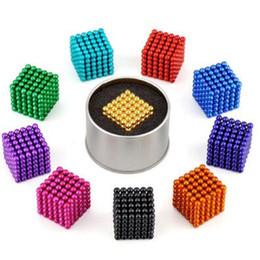 Wholesale Toy Box Puzzles - 16 Colors 5mm Size 216pcs Cube Magnetic Balls Magico Magnet Puzzle Decompression Toy Magnetic Bucky Cubes With Metal Box CCA8408 200pcs