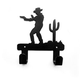 Wholesale Original Decor - 2016 New Home Kitchen Bathroom Original Cowboy Design Robe Hook Coat Hat Bag Cartoon Wall Hanger Home Improvement Decor