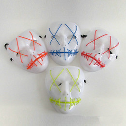 Wholesale Cheap Carnival Masks - Halloween Masks LED Clothing Neon Horror EL Masks Cold Light Festival Party 10 Colors Glowing Dance Carnival Wholesale Cheap DHL Fast