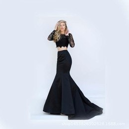Wholesale Water Decal Vintage - Formal Catwalk Evening Dresses 2017 New Lace Decal Long Sleeve Two-Part Prom Dress Sexy Mermaid Trailing Gowns Pageant Get Together Robe