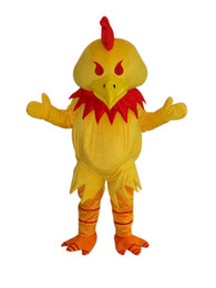 Wholesale Custom Chicken Costume - Yellow chicken in red hat adult size mascot costume