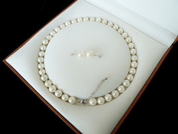"Wholesale Golden Akoya Pearls - 8mm White Akoya  Cultured Shell Pearl Necklace Earring Set 18"" AAA"