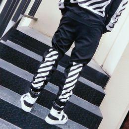 Wholesale Cotton Leisure Trousers - 2017 OFF DFF White letter religion stripe movement Foot pants men and women Leisure baseball underwear Plus cashmere trousers