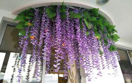 Wholesale Violet Silk Flowers - 1.8 meters wedding decoration, simulation flowers, living room, interior decoration, plastic flowers, rattan, violet hanging, manufacturers