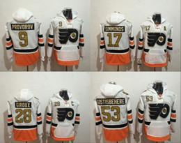 flyers à capuche Promotion 50e anniversaire Patch Flyers à capuche Philadelphie Blanc 17 Wayne Simmonds 28 Claude Giroux 53 Shayne Gostisbehere 9 Sweat Ivan Provorov