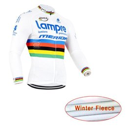 Wholesale High Quality Thermal Fleece Cycling - Lampre Cycling T-shirt High Quality Gorgeous Long Sleeve Cycling Tops Colorfast Sleeves Thermal Fleece Cycling Jerseys maillot ciclismo