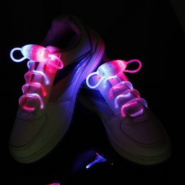 Wholesale shoelace light up - Waterproof Luminous LED Shoelaces Fashion Light Up Casual Sneaker Shoe Laces Disco Party Night Glowing Shoe Strings