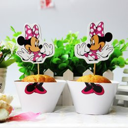 Wholesale High Quality Cupcake Papers - Wholesale-high quality cartoon minnie mouse paper cupcake 12 pcs wrappers+12pcs toppers girs favor kids birthday party decoration festival