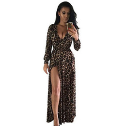 Wholesale Sexy Leopard Long Dress - Casual Dresses For Women for Womens Europe and The United States Sexy Maxi Leopard V-neck Split Long-sleeved Dress Dress