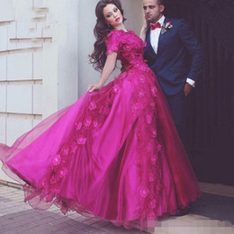 Wholesale Make Custom Decals - Saudi Ababic Fuchsia A Line Prom Dresses with Short Sleeve Jewel Neck Formal Evening Dresses Decals Long Guest Dress for Party Wear
