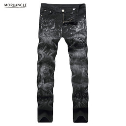 Wholesale Skulls Jean - Wholesale- MORUANCLE Fashion Mens Skull Printed Jeans Pants Black Stretch Denim Joggers Male Slim Fit Painted Jean Trousers Plus Size 28-