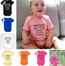 """Wholesale Earth Warms - """"hand picked for earth"""" Children wing letter print romper Newborn Baby Boy Girl Clothes Warm Cute Baby Sunsuit T-Shirt 8color choose free"""